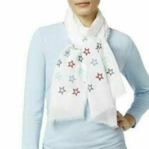 INC Scarf White With Embroidered Stars